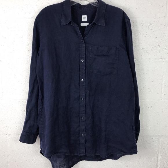 GAP Tops - GAP Boyfriend Shirt Long Sleeve 100% Linen